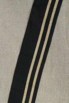 Ribkant stribet i sort og kobber/guld 65 mm x 81 cm.