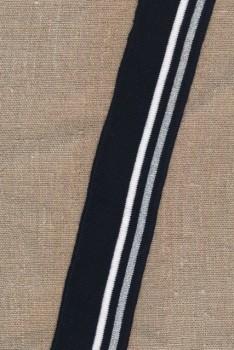 Ribkant stribet i sort, hvid, sølv 45 mm x 123 cm.