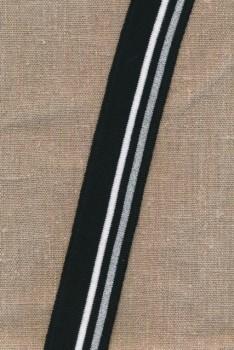 Ribkant stribet i sort, hvid, sølv 35 mm x 125 cm.