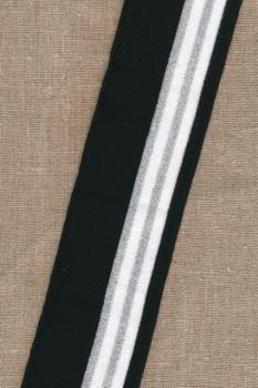 Ribkant stribet i sort/hvid/sølv 65 mm x 110 cm.
