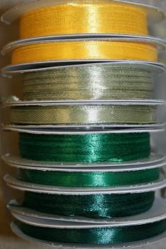 10 meter rulle satinbånd 3 mm. gul - støvet grøn - græsgrøn