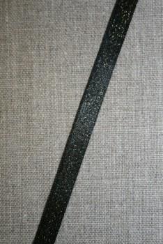 Blankt bånd sort med guld-nister, 10 mm.