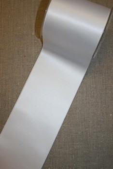 Satinbånd hvid 100 mm.