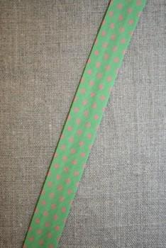 Skråbånd m/prikker lime/lyserød