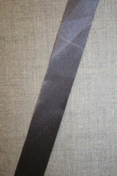 Satin skråbånd mørk grå, ikke foldet