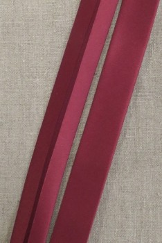 Skråbånd satin i bordeaux-rød, 30 mm. - Prym