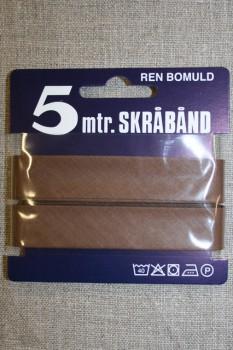 5 meter bomulds-skråbånd, lys chokoladebrun