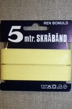 5 meter bomulds-skråbånd, lys gul