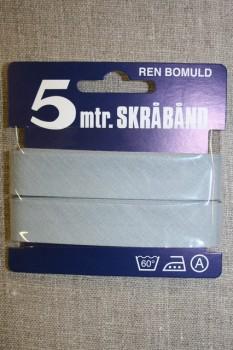 5 meter bomulds-skråbånd, lys sølv grå