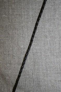 Imiteret flettet lædersnøre 3 mm. mørkebrun