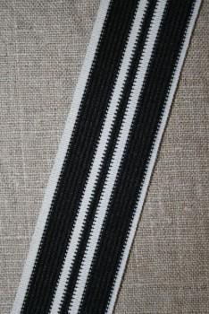 Sportsbånd stribet sort og hvid 35 mm.