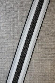 Sportsbånd stribet med lurex lysegrå hvid oxyderet, 25 mm.