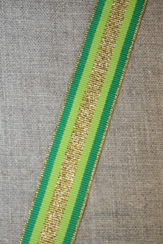 Sportsbånd stribet med lurex græsgrøn lime guld, 25 mm.