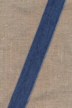 Velourbånd 25 mm. i denimblå med kant