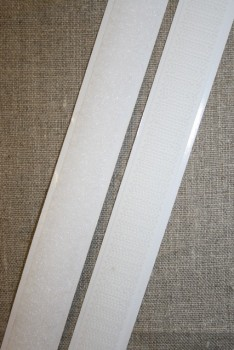 Rest 20 mm. velcro med lim - selvklæbende, hvid loop 55 cm.