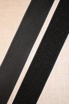 Rest 50 mm velcro sort med lim - selvklæbende, 36 cm. loop