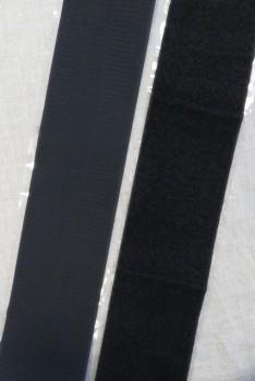 100 mm. velcro sort med lim - selvklæbende