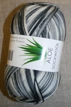 Aloe strømpegarn print grå-hvid-koksgrå