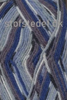Basic uld/polyamid, Jacquard print grå/lyseblå/blå