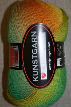 Hjerte Kunstgarn, græsgrøn/gul/orange