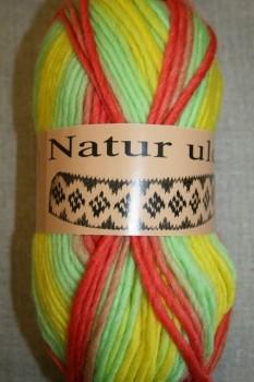 Naturuld print mint/koral/gul