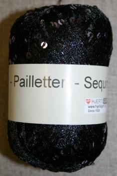 Garn med palietter i sort