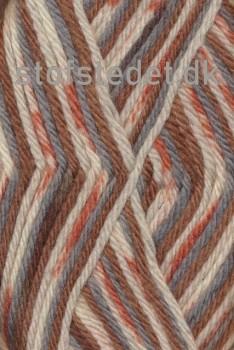 Ragg strømpegarn i brændt orange, rust-brun, lysegrå og off-white