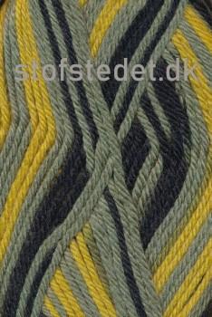 Ragg strømpegarn i sort, gul og støvet grøn