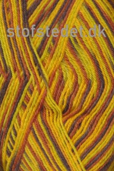 Strømpegarn Jacquard Magic gul/carry/brun/brændt orange
