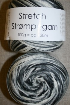 Stretch strømpegarn print sort grå hvid