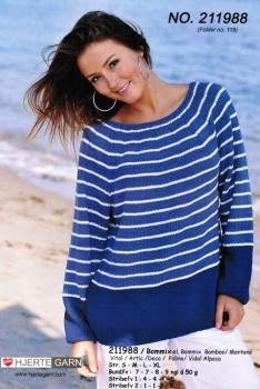 211988 Stribet sweater m/rundt bærestykke