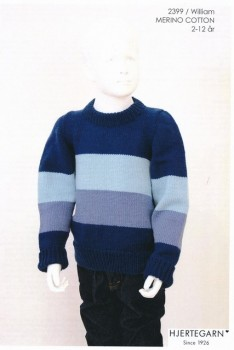 2399 William Stribet sweater i Merino Cotton str. 2-12 år. | Hjertegarn