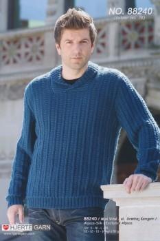 88240 Herre-sweater m/sjalskrave