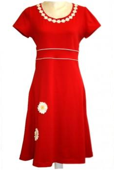 Jersey kjole rød m/Marguerit