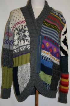 Strik jakke i patchwork-look