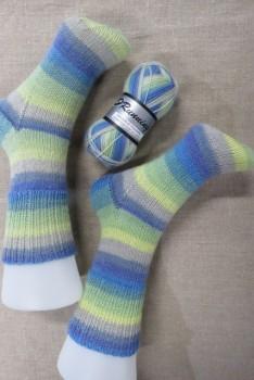 Strømper i New Running i lys lime blå lys petrol