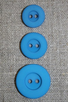 2-huls knap turkis, 18 mm.