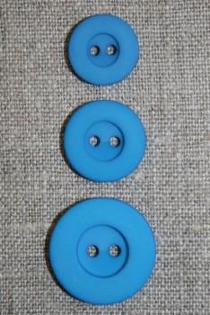 2-huls knap turkis, 15 mm.