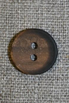 Oliven-brun meleret knap, 15 mm.
