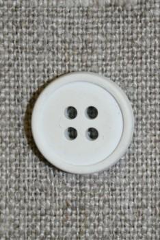 Gummi-knap i hvid/lysegrå, 15 mm.