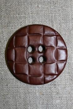 Stor knap m/flet-look, brun