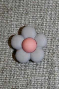 2-farvet blomsterknap lys grå-lyng/rosa