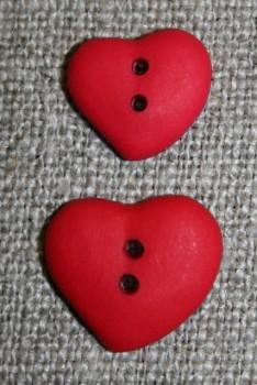 Asymetrisk hjerteknap, rød 15 mm
