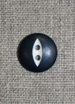 Knap mørkeblå m/hvid, 15 mm.