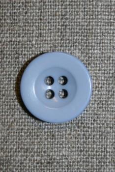 Lyseblå 4-huls knap, 18 mm.