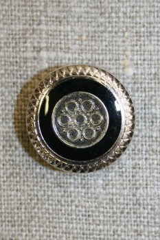 Knap m/mønster sølv/sort, 20 mm.