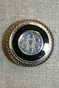 Knap m/mønster sølv/sort, 30 mm.