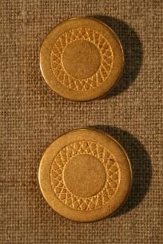 Mat guldknap m/cirkel 22 mm.
