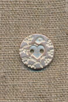 Metal-knap m/fugl sølv/kobber, 18 mm.