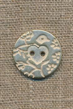 Metal-knap m/fugl sølv/hvid, 23 mm.